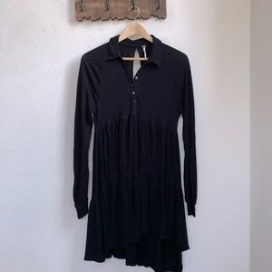 Free People   Long Sleeve Black Ruffle Dress